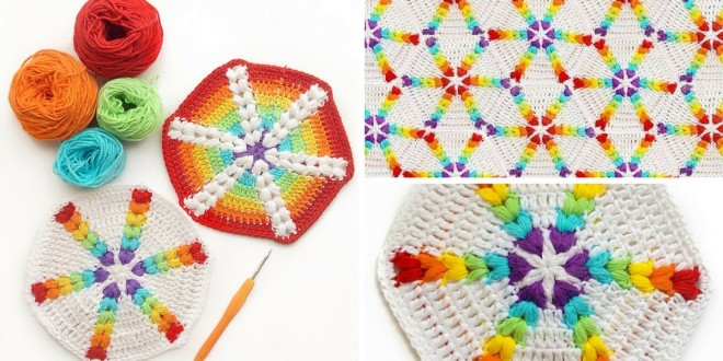 croche rainbow puff hexagon