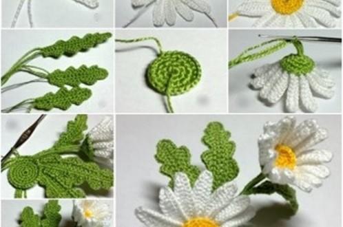 crochet 3D daisy F