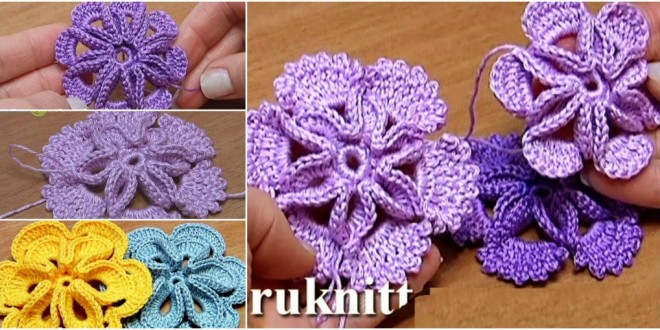 crochet 3d center flower