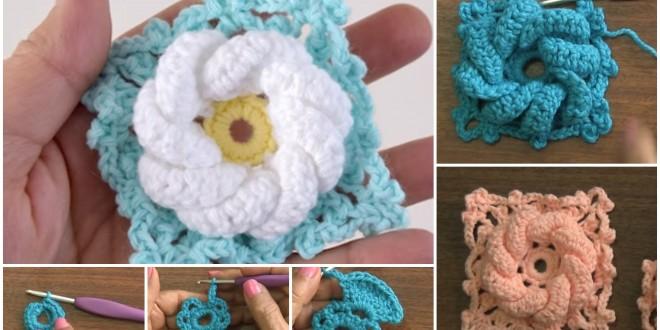 crochet 3d flower 1