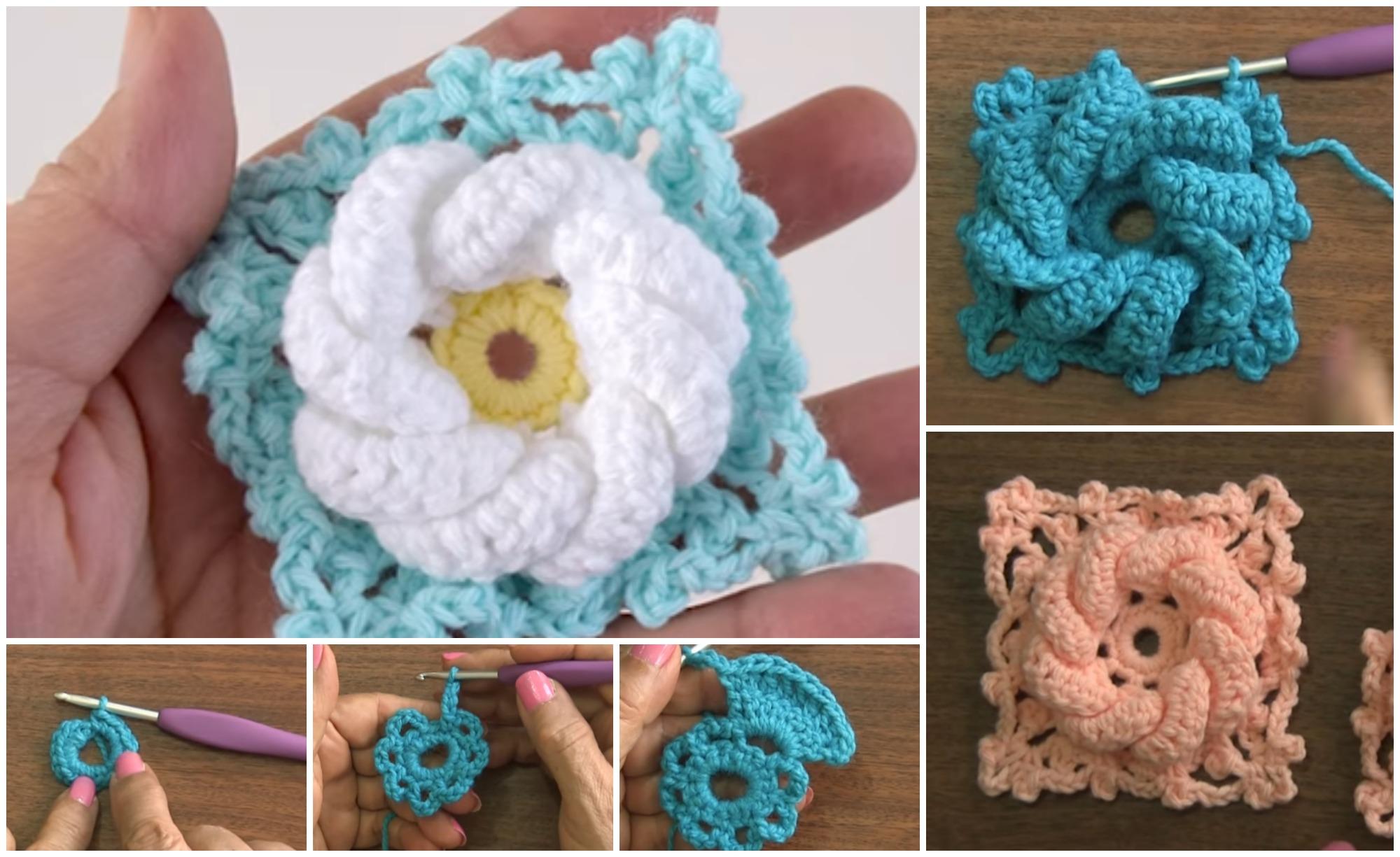 Crochet 3d Flower Granny Square