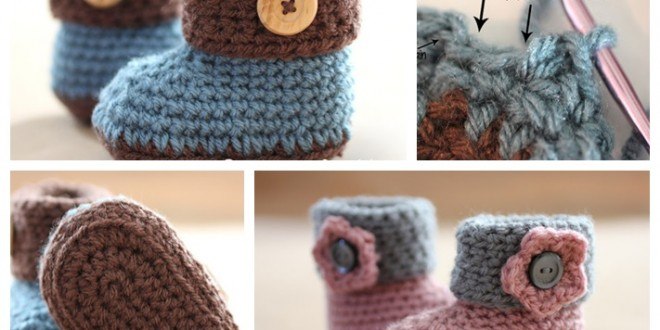 crochet Cuffed babyBooties free pattern