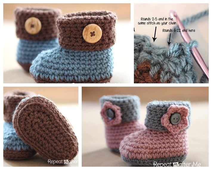 Crochet Cuffed Baby Booties With Free Pattern