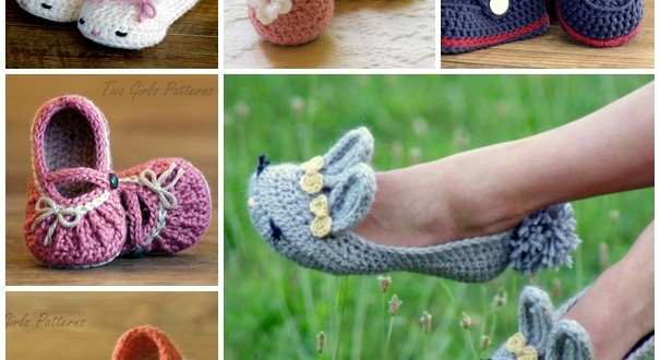 crochet baby and moms slippers