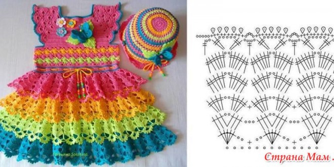 crochet baby dress rainbow