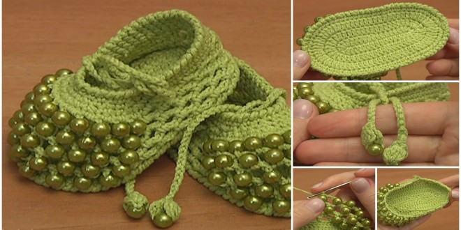 crochet baby shoes beaded