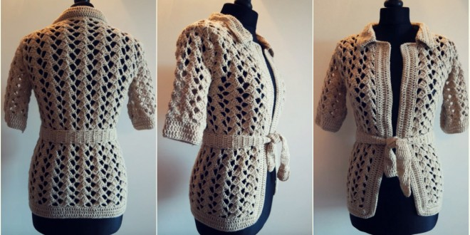 crochet beige jacket free tutorial