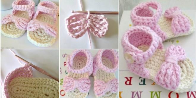 crochet bow baby sandals
