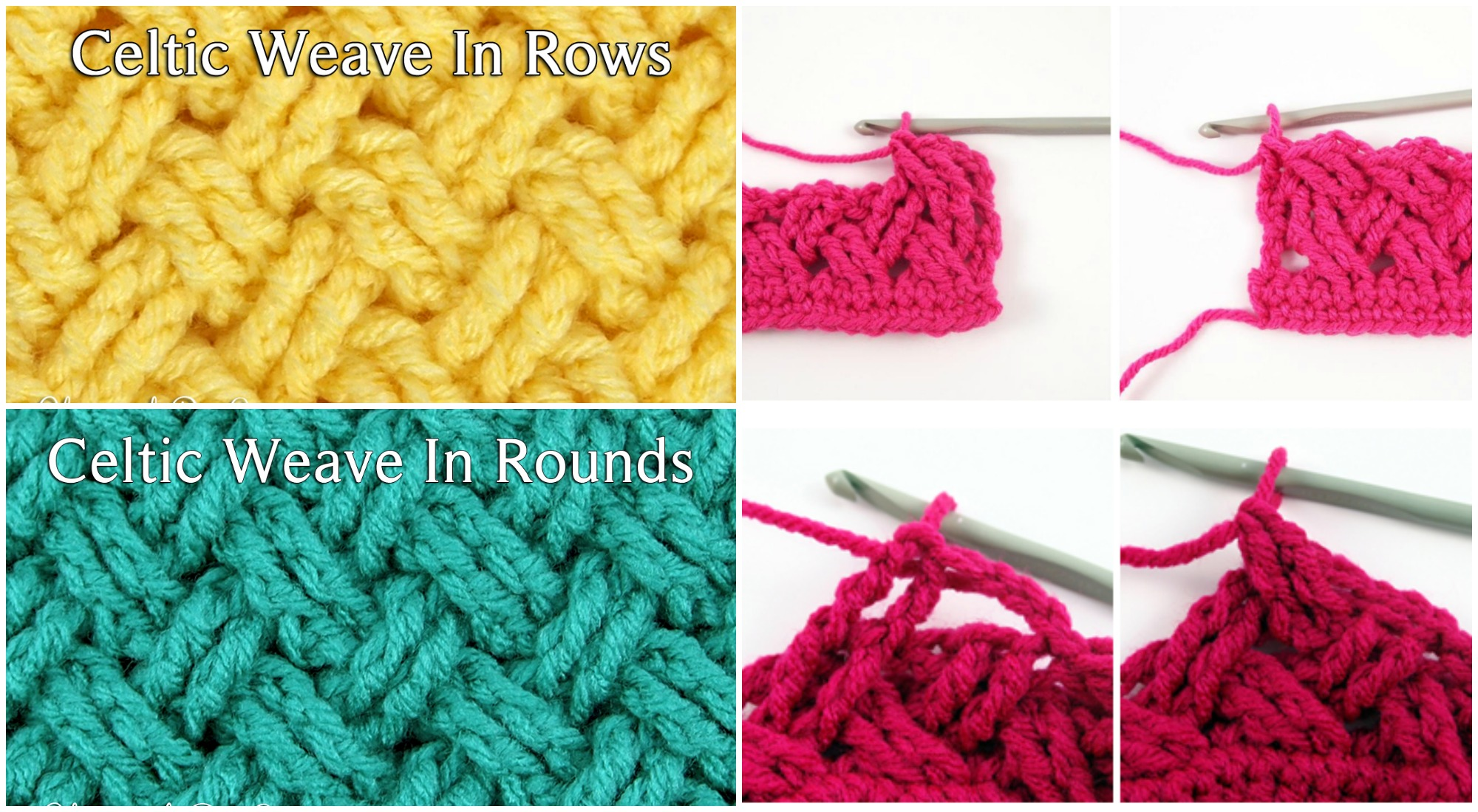 Crocheting In Rows : Crochet Celtic Stich in Rows and in Rounds