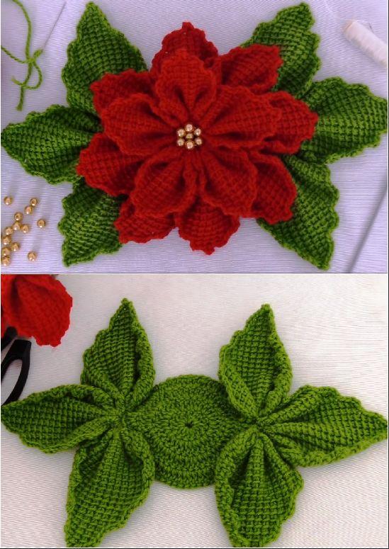 crochet christmas flowers tutorial 10