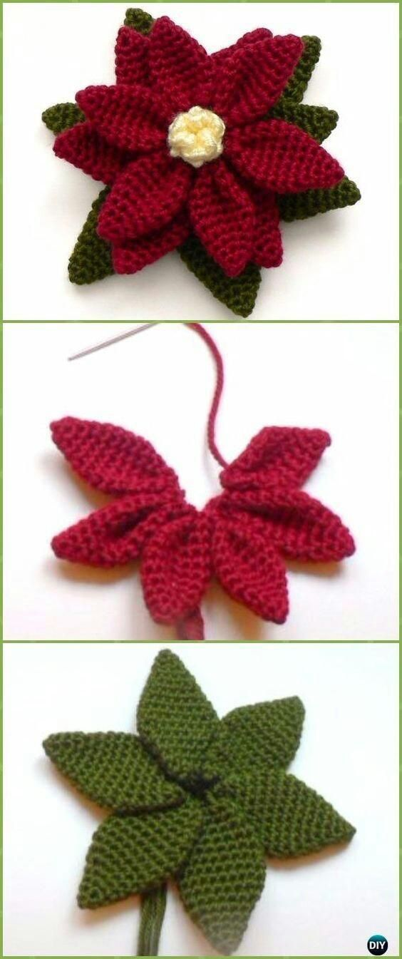 crochet christmas flowers tutorial 2