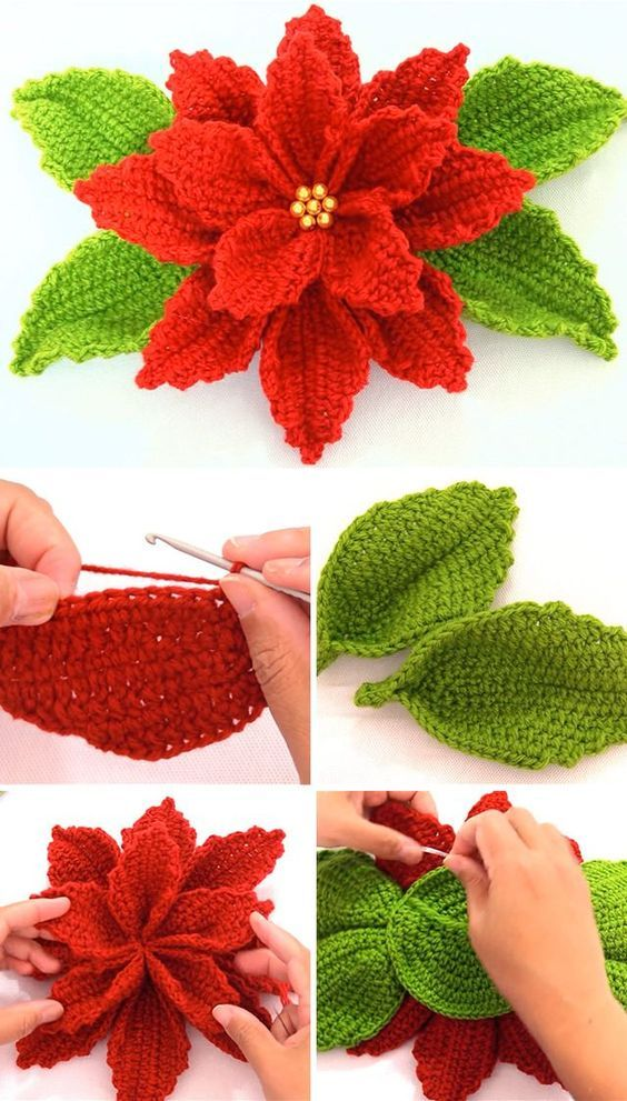 crochet christmas flowers tutorial 3