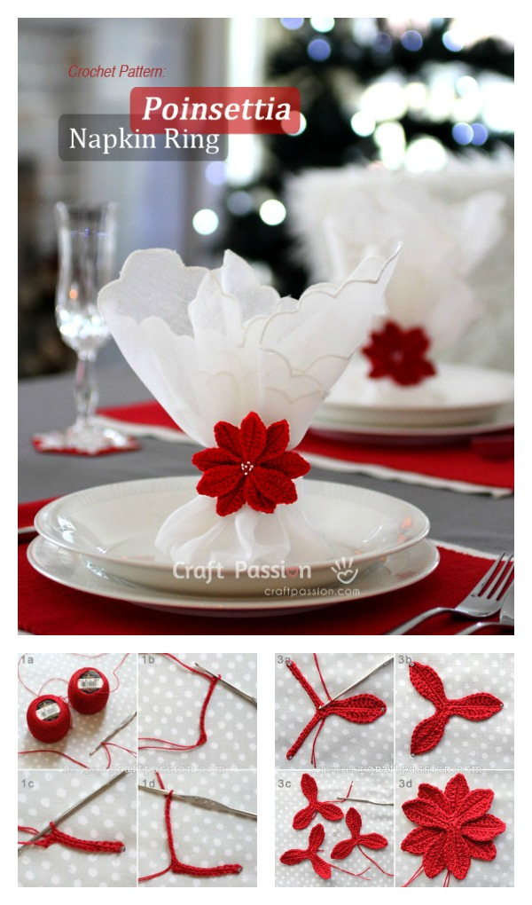 crochet christmas flowers tutorial 4