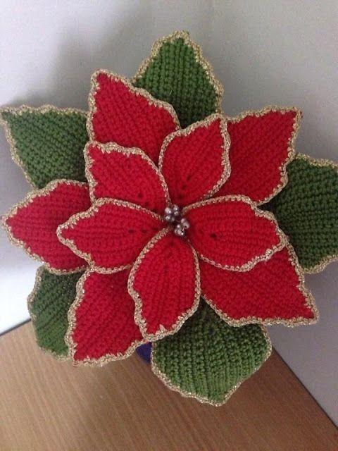 crochet christmas flowers tutorial 5