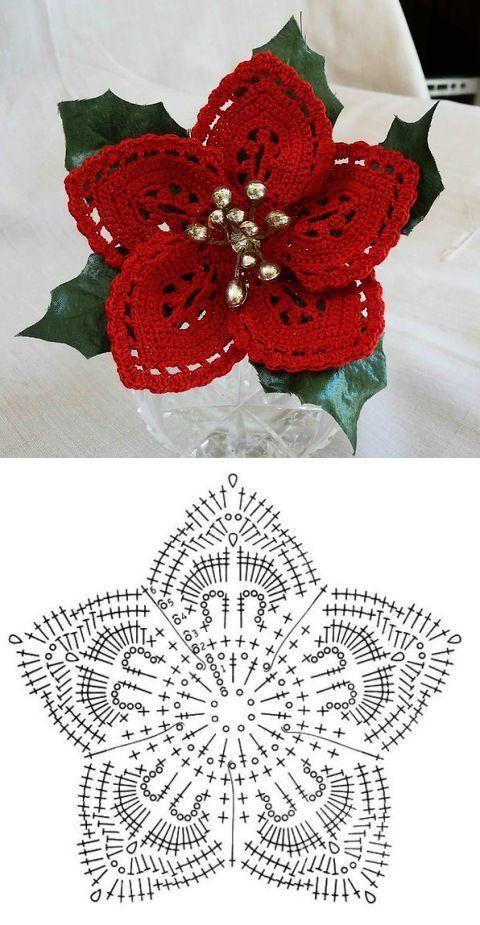 crochet christmas flowers tutorial 6
