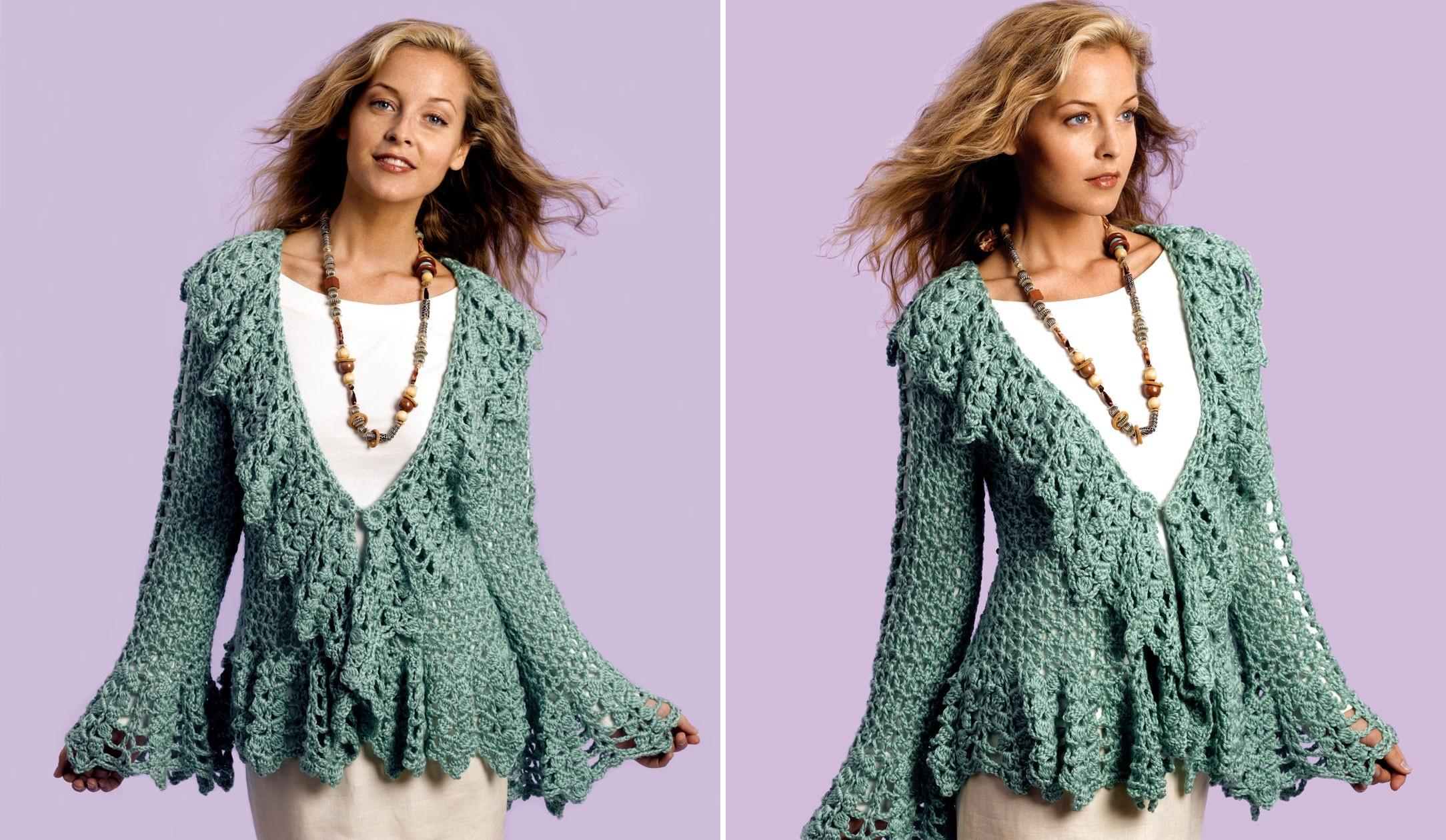 Crochet Soft Sage Circle Jacket Free Pattern