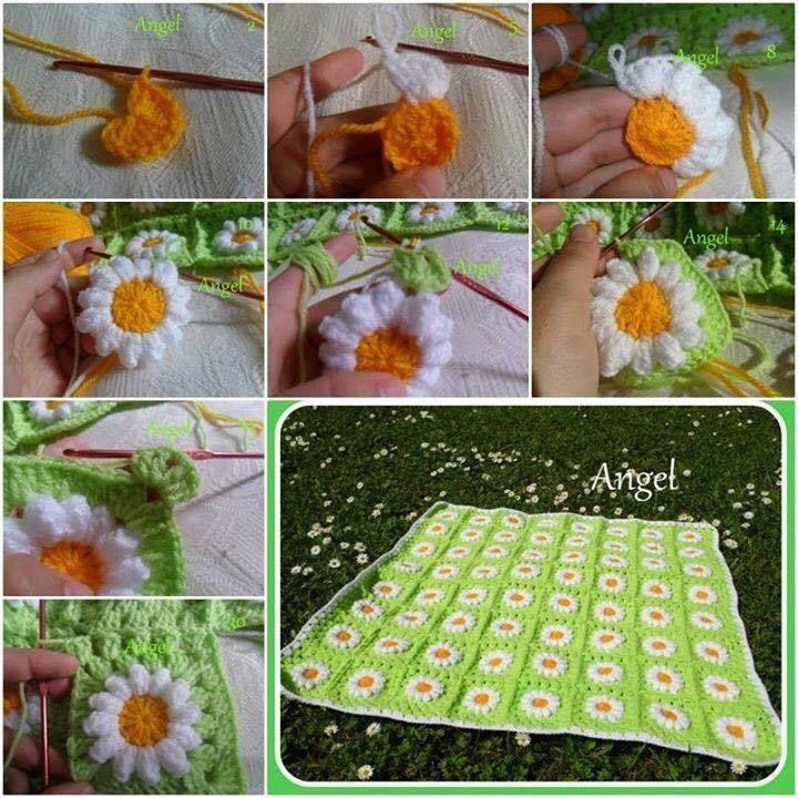 crochet daisy flower blanket 1