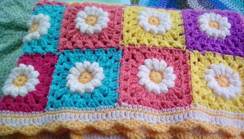 crochet daisy flower blanket 4
