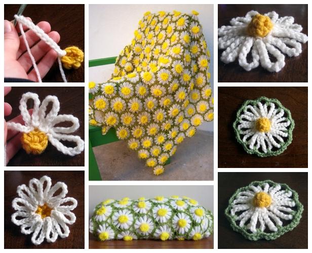 crochet daisy flower blanket 5
