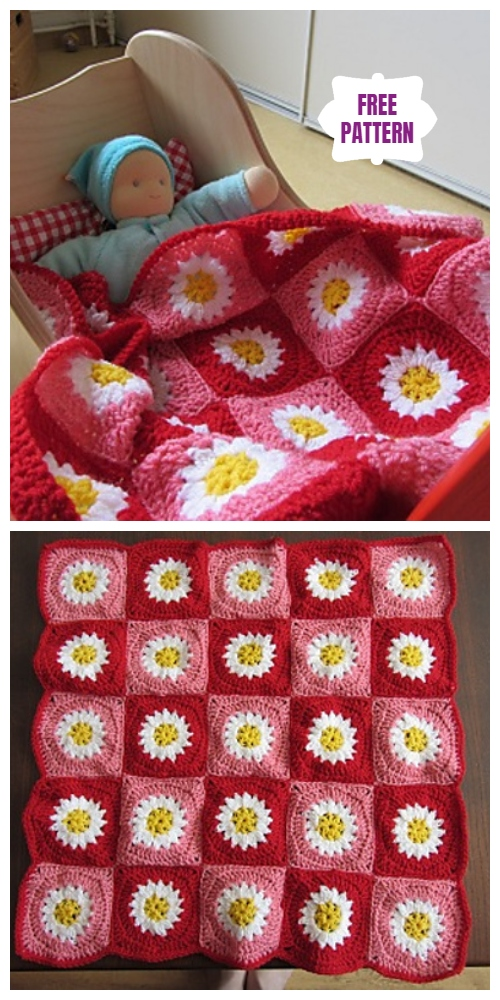 crochet daisy flower blanket 6