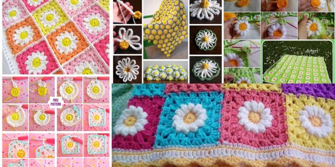 crochet daisy flower blanket