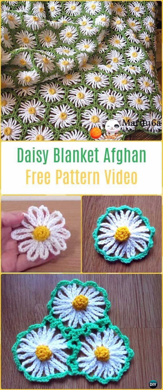 crochet daisy flower blanket 9