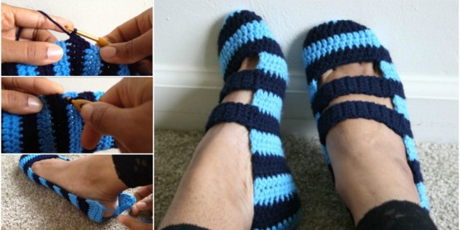 crochet double strapped shoes