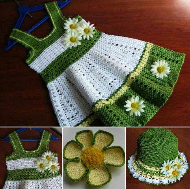 crochet-dress-hat-set-wonderfuldiy