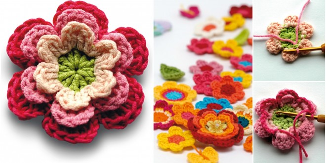 crochet flora colorful