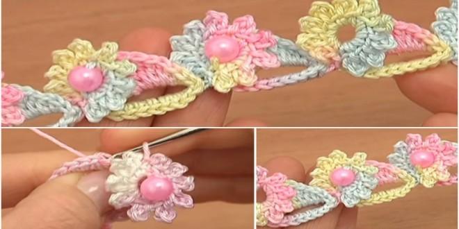 crochet flower cord