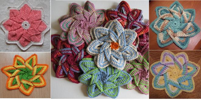 crochet flower hot pad