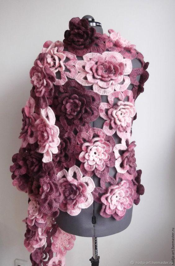 crochet flower scarf 1