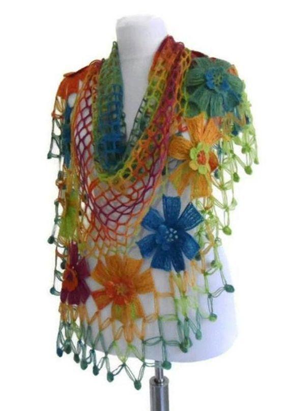 crochet flower scarf 3