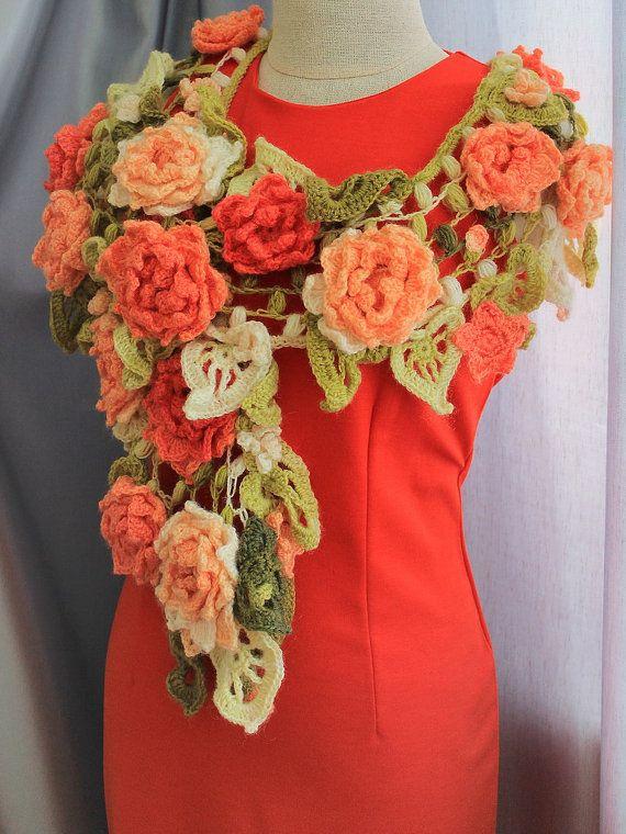 crochet flower scarf 6