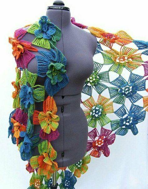 crochet flower scarf 8