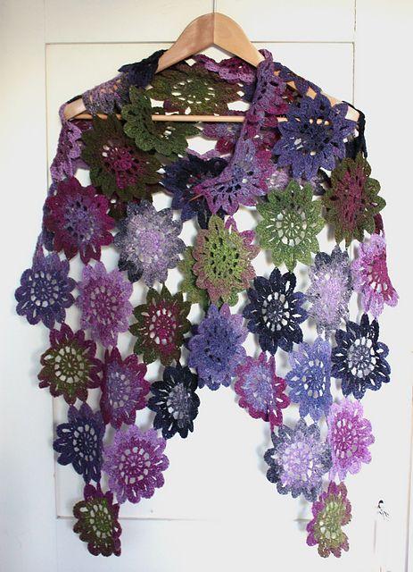 crochet flower scarf 9