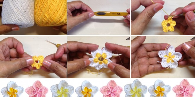 crochet flower tutorial 1