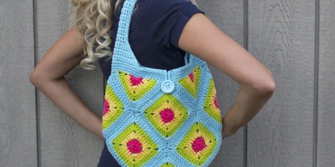 crochet granny square handbag