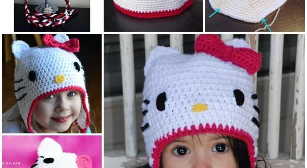 crochet hello kitty hat F