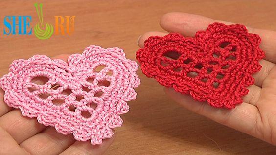 crochet mesh heart