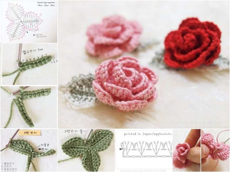 Pink crochet rose diagram library of wiring diagram diy crochet rose with free pattern rh crochetblog net crochet leaves diagram crochet roses eo ccuart Image collections