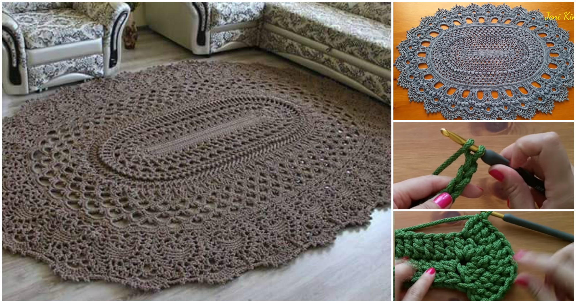 Free Crochet Pattern For Oval Rug : Crochet Oval Rug