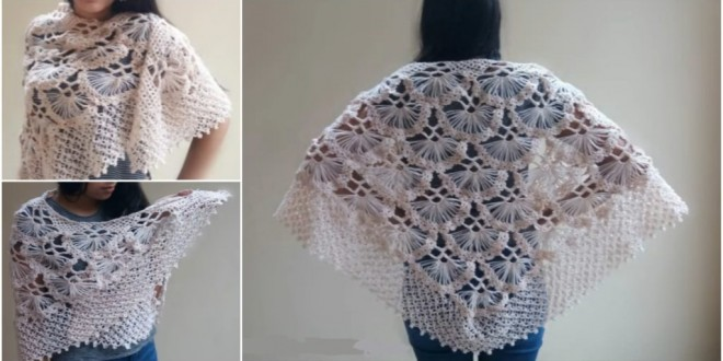 crochet shell shawl poncho