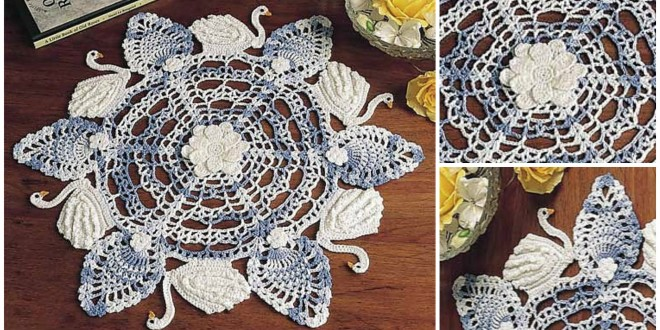 crochet six swans swimming doily
