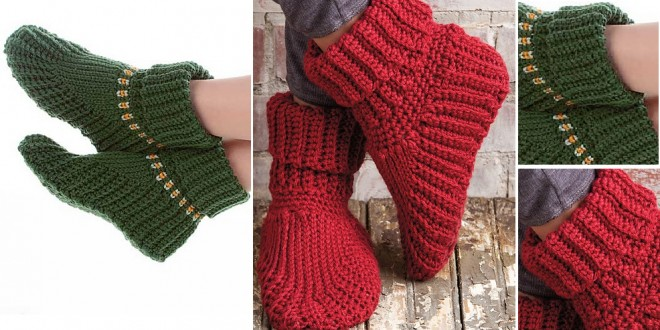 crochet slippers boots