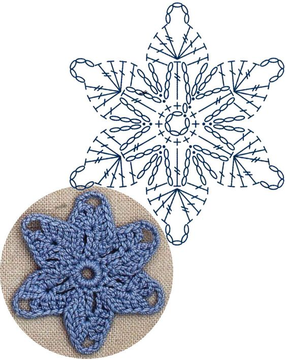 crochet star flower 5