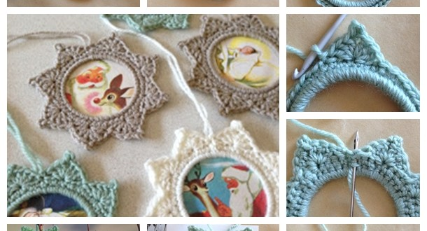 crochet star photo frame F