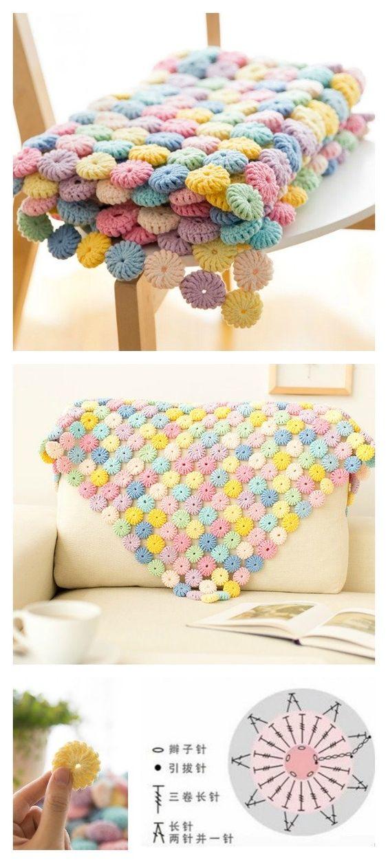 crochet yo yo flower stitch 8
