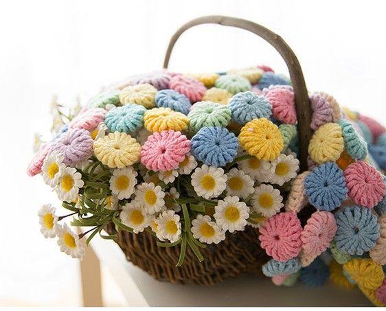 crochet yo yo flower stitch