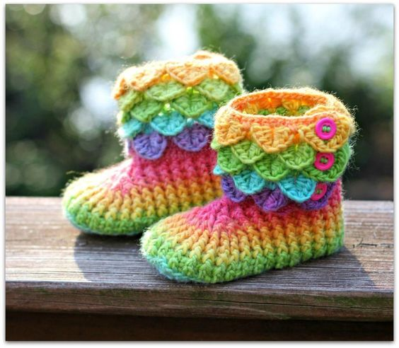 crocodile stitch crochet boots 1